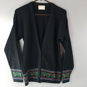 PENDLETON 100% Virgin Wool Black Cardigan small